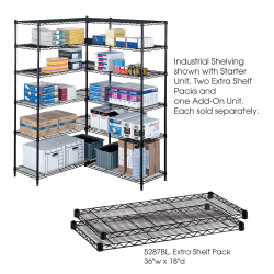 """Safco® Extra Shelves For Industrial Wire Shelving, 36""""W x 18""""D, Black, Pack Of 2"""