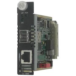 Perle C-1110-SFP Gigabit Ethernet Managed Media Converter - 1 x Network (RJ-45) - 10/100/1000Base-T - 1 x Expansion Slots - 1 x SFP Slots - Internal