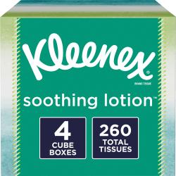 Kleenex® Soothing Lotion 2-Ply Facial Tissues, White, 65 Sheets Per Box, Carton Of 4 Boxes