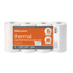 """Office Depot® Brand Thermal Preprinted """"Thank You"""" Paper Rolls, 3 1/8"""" x 230', White, Pack Of 8"""
