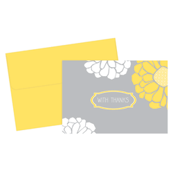 "Great Papers! Thank You Cards, 4 7/8"" x 3 3/8"", Sunny Flowers, Gray/Yellow, Pack Of 24"