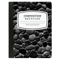 """New Leaf® 40% Recycled Fashion Composition Book, 7 1/2"""" x 9 3/4"""", College Ruled, 100 Sheets, Black"""