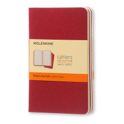 """Moleskine Cahier Journals, 3-1/2"""" x 5-1/2"""", Faint Ruled, 64 Pages (32 Sheets), Cranberry Red, Set Of 3 Journals"""