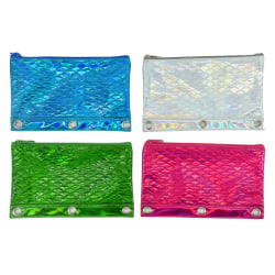 """Inkology Embossed Mermaid Scale Binder Pencil Pouches, 10"""" x 4"""", Assorted Colors, Pack Of 12 Pouches"""