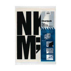 """Chartpak Press-On Vinyl Letters And Numbers, 6"""", Black, Pack Of 38"""
