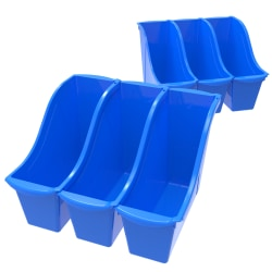 Storex® Book Bins, Medium Size, Blue, Pack Of 6