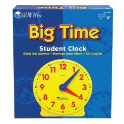 """Learning Resources® Big Time™ 12-Hour Student Learning Clock, 5"""" x 5"""", Grades Pre-K - 8"""