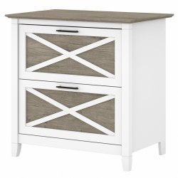 Bush Furniture Key West 2-Drawer Lateral File Cabinet, Shiplap Gray/Pure White, Standard Delivery