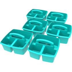 """Storex Small Plastic Caddies, 5-1/4""""H x 9-1/4""""W x 9-1/4""""D, Teal, Pack Of 6 Caddies"""