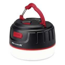 "WeatherX 16-LED Rechargeable Lantern, 3-3/16"", Black/Red"