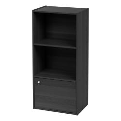 """IRIS 35""""H 3-Tier Storage Shelf With Door, Black"""