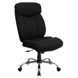 Flash Furniture Hercules Big And Tall High-Back Ergonomic Office Chair With Full Headrest And Chrome Base, Black Fabric