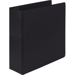 "Samsill® Earth's Choice Label Holder 3-Ring Binder, 4"" D-Rings, Black"