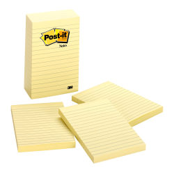 "Post-it® Notes, 4"" x 6"", Lined, Canary Yellow, Pack Of 5 Pads"