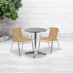 "Flash Furniture Round Aluminum Table With 2 Rattan Chairs, 27-1/2"" x 23-1/2"", Beige"