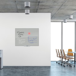 "U Brands Floating Frameless Dry-Erase Board, 36"" x 48"", Gray"