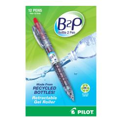 Pilot BeGreen B2P Fine Point Gel Pens - Fine Pen Point - 0.7 mm Pen Point Size - Refillable - Retractable - Red Gel-based Ink - Plastic Barrel - 12 / Box