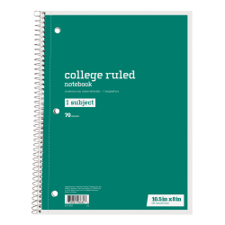 """Just Basics® Spiral Notebook, 7-1/2"""" x 10-1/2"""", College Ruled, 140 Pages (70 Sheets), Green"""