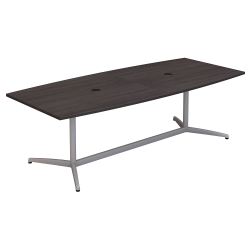 """Bush Business Furniture 96""""W x 42""""D Boat Shaped Conference Table with Metal Base, Storm Gray, Standard Delivery"""