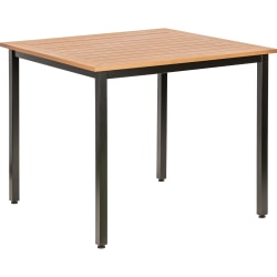 Lorell™ Faux Wood Square Outdoor Table, Teak/Black