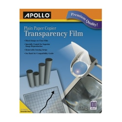 Apollo® Plain Paper Copier Transparency Film, Black On Clear With Strip, Box Of 100 Sheets