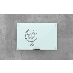 """U Brands Frameless Non-Magnetic Glass Dry Erase Board, 72"""" X 48"""", Frosted White"""