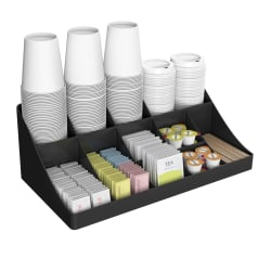 "Mind Reader 11 Compartment Coffee Condiment Organizer, 6 5/8""H x 18 1/4""W x 9 13/16""D, Black"