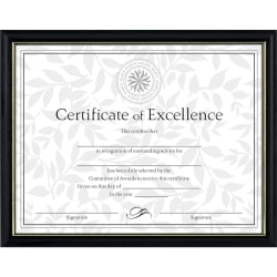"""Dax Burns Group Two-tone Certificate Frame - 11"""" x 8.50"""" Frame Size - Rectangle - Wall Mountable - Vertical, Horizontal - Durable - 1 Each - Solid Wood - Black, Gold"""