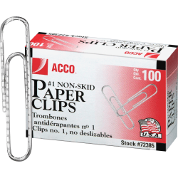 ACCO® Economy Metal Paper Clips, No. 1, 10-Sheet Capacity, Silver, 100 Clips Per Box, Pack Of 10 Boxes