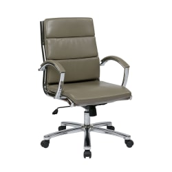 Office Star™ Work Smart™ Executive Mid-Back Chair, Smoke/Silver