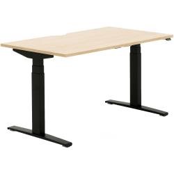 "Allermuir Slide Electric Height-Adjustable Standing Desk, 29""H x 54""W x 30""D, Oak/Black"