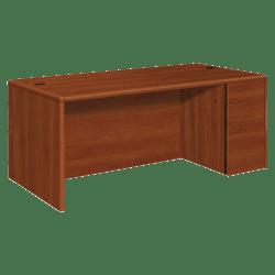 HON® 10700 Series Laminate Right Pedestal Desk, Box/Box/File, Cognac