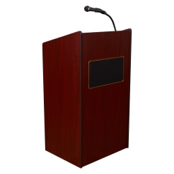 Oklahoma Sound® The Aristocrat Sound Lectern With Sound & Handheld Wireless Microphone, Mahogany