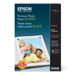 """Epson® Premium Glossy Photo Paper, 13"""" x 19"""", Pack Of 20 Sheets"""