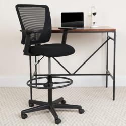 Flash Furniture Ergonomic Mesh Mid-Back Drafting Chair, Black