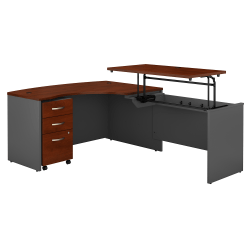 "Bush Business Furniture Components 60""W Right Hand 3 Position Sit to Stand L Shaped Desk with Mobile File Cabinet, Hansen Cherry/Graphite Gray, Premium Installation"