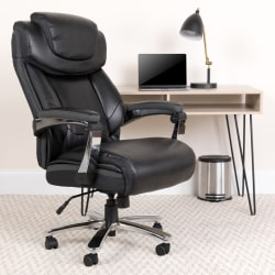 Flash Furniture Hercules Big And Tall Ergonomic Bonded LeatherSoft™ Office Chair With Height-Adjustable Headrest, Black/Gray