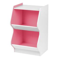 "IRIS 27""H 2-Tier Bookshelf With Footboard, White/Pink"