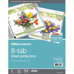 """Office Depot® Brand Tabbed Sheet Protectors, 8-1/2"""" x 11"""", 8-Tab, Clear"""