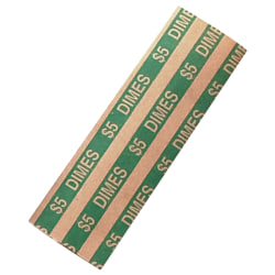 PAP-R Flat Coin Wrappers - Total $5.0 in 50 Coins of 10¢ Denomination - Heavy Duty - Paper - Green