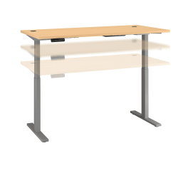 """Bush Business Furniture Move 60 Series 72""""W x 30""""D Height Adjustable Standing Desk, Natural Cherry/Cool Gray Metallic, Standard Delivery"""