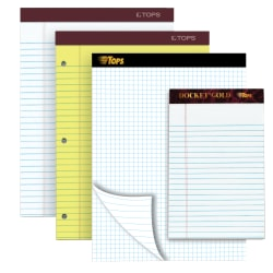 "TOPS™ Double Docket® Gold Writing Pad, 8 1/2"" x 11"", Quad/Narrow Ruled, 160 Pages (80 Sheets), White"