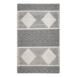 Anji Mountain Oboto Hand-Loomed Tribal Rug, 5' x 8', Black/White