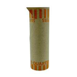PAP-R Tubular Coin Wrappers - Total $10 in 40 Coins of 25¢ Denomination - Heavy Duty, Burst Resistant - Kraft - Orange