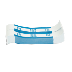 Pap-R Currency Straps, Blue, $100, Pack Of 1,000