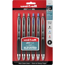 uni-ball 207 Plus+ Gel Pens - Medium Pen Point - 0.7 mm Pen Point Size - Retractable - Assorted Gel-based Ink - Metallic Barrel - 6 / Pack