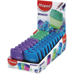 "Maped USA 2-Hole Pencil Sharpeners, 2-13/16""H x 2-3/8""W x 15/16""D, Assorted Colors, Pack Of 20 Sharpeners"