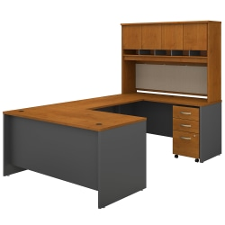 "Bush Business Furniture Components 60""W U-Shaped Desk With Hutch And Mobile File Cabinet, Natural Cherry/Graphite Gray, Standard Delivery"