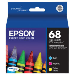 Epson® 68, (T068520-S) DuraBrite® High-Capacity Tricolor Ink Cartridges, Pack Of 3