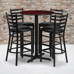 Flash Furniture Round Bar-Height Table Set With 4 Metal Bar Stools, Mahogany/Black